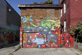 Original mural streets of toronto on a house in ontario canada Royalty Free Stock Images