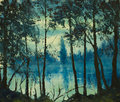 Original oil painting beautiful night sea magic wood impressionism of forest on canvas modern Stock Photos