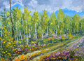 Original oil painting Beginning of autumn in the forest Royalty Free Stock Photo
