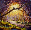 Original Oil Painting on canvas - guy and girl are sitting on branch in forest - Modern impressionism art. Royalty Free Stock Photo