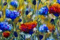 Original oil painting on canvas. Poppy flowers and cornflowers illustration. Royalty Free Stock Photo