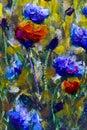 Original oil painting on canvas. Poppy flowers and cornflowers illustration.
