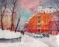 Volodymyrska street in Kyiv - Original oil painting on canvas