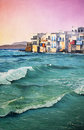 Original oil painting colorful of a seascape Stock Images
