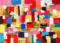 Original oil painting colourfull of abstract shapes and square patterns Stock Photo