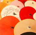 Original oil painting colourfull of chinese umbrellas Royalty Free Stock Photos