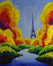 Original oil painting of Eiffel tower paris. Dream. Autumn, green, blue. Illustration. Royalty Free Stock Photo