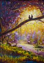 Original Oil Painting on canvas - guy and girl are sitting on branch in forest - Modern impressionism art.