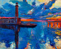 Original oil painting of old lighthouse on canvas sunset over ocean modern impressionism Stock Photos