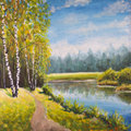 Original oil painting summer landscape, sunny nature on canvas. Beautiful far forest, rural landscape landscape. Modern impressio Royalty Free Stock Photo