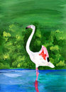 Original painting of a flamingo, a child art Royalty Free Stock Photography