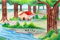 Original pencil sketch of beautiful landscape a with hut trees and river Royalty Free Stock Image