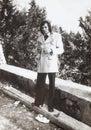 Original 1970 photo, vintage italian man outdoor. Fashion clothing.