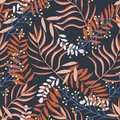 Original seamless pattern with bright tropical plants and leaves on black background. Vector design. Jungle print. Printing and te