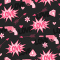 Original seamless pattern with guns,love, arrow, hearts and flowers. Royalty Free Stock Photo