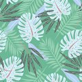 Original seamless pattern with leaves on green background. Vector design. Jungle print. Printing and textiles.