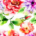 Original seamless wallpaper watercolor illustration Stock Images