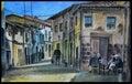 Original spanish village gouache Royalty Free Stock Photo