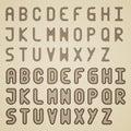 Original striped font alphabet Royalty Free Stock Images