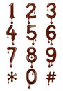 Original stylish numbers made of melted chocolate isolated Royalty Free Stock Photo