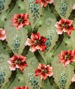 Original textile fabric ornament of the Lily. Crock is hand-painted with gouache. Royalty Free Stock Photo