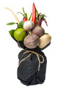 The original unusual edible vegetable and fruit bouquet isolated of vegetables fruits on white Stock Photography