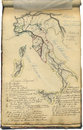 Original vintage map of Italy