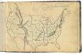 Original vintage map of USA Royalty Free Stock Photo