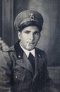 Original vintage 30s photo portrait Italian military man Royalty Free Stock Photo