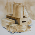 Original watercolour, a collection of boxes and packets Royalty Free Stock Photo