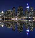 Orizzonte di Manhattan alla notte, New York Fotografia Stock