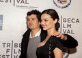 Orlando bloom and miranda kerr arrive on the red carpet of the tribeca performing arts center in new york city on april for the Royalty Free Stock Photos