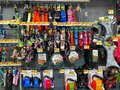 A display of a variety of dog collars, harnesses and leashes at a Walmart retail store waiting for customers to purchase Royalty Free Stock Photo