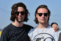 Orlando weeks left and hugo white right member of the maccabees benicassim spain july at fib on july in benicassim spain festival Royalty Free Stock Photos