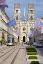Orleans cathedral france september view to from the rue jeanne d arc decorated by flags before the annual river boats Royalty Free Stock Images