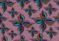 Vector seamless pattern with abstract figures on a pink background.