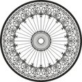 Ornament in a circle cast steel and wrought iron ornament rosette curve Royalty Free Stock Images