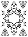 Ornament design elements vintage victorian calligraphic ornamental with floral swirls and flourishes in a symmetrical pattern eps Stock Photos