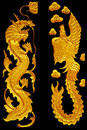Ornament elements, vintage Golden Dragonl and swan designs
