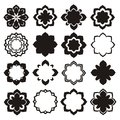 Ornament flower elements set monochrome Royalty Free Stock Photo