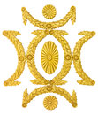 Ornament frame golden stucco decoration elements on white Royalty Free Stock Photo