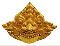 Ornament of gold plated vintage floral thai art style Stock Image