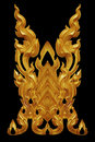 Ornament of gold plated vintage floral ,thai art Style Royalty Free Stock Photo
