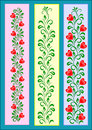 Ornament with hearts decorative tape red on green branches a set of leaves Stock Image