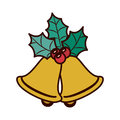 Ornament with leaves Christmas and bell Royalty Free Stock Photo