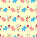 The ornament of a loving couple of elephants, flowers and hearts. Seamless pattern for kids.
