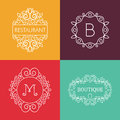 Ornament monogram mono line floral frame set Royalty Free Stock Photo