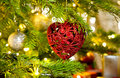 Ornament in a real Christmas tree Royalty Free Stock Photo