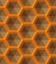 Ornament with small yellow hexagons, hexagonal grid, lattice, repeat tiles