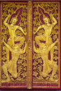 Ornament wooden door of thai temple in chiangmai thailand Royalty Free Stock Photos